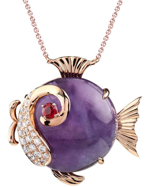 photo of purple fish pendant