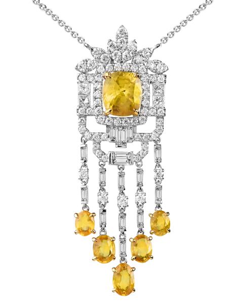 photo of shed yellow diamond pendant