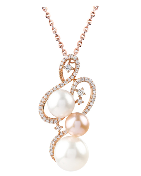 photo of white and rose gold pearl pendant