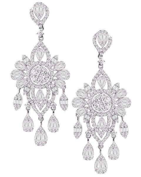 photo of baguette cut diamond earrings