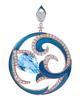 photo of blue topaz pendant with blue enamel