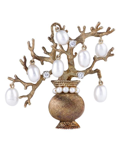 photo of diamond & pearl tree brooch
