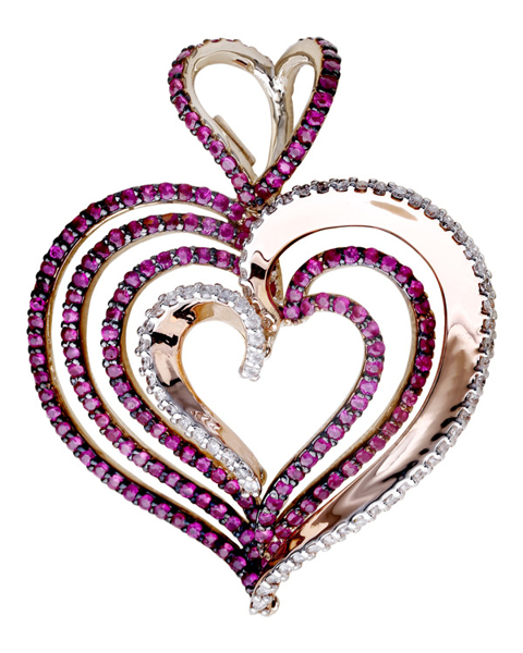 photo of heart shaped pendant with Rhodolite
