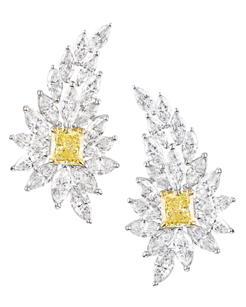 photo of modern leafage yellow diamond earrings