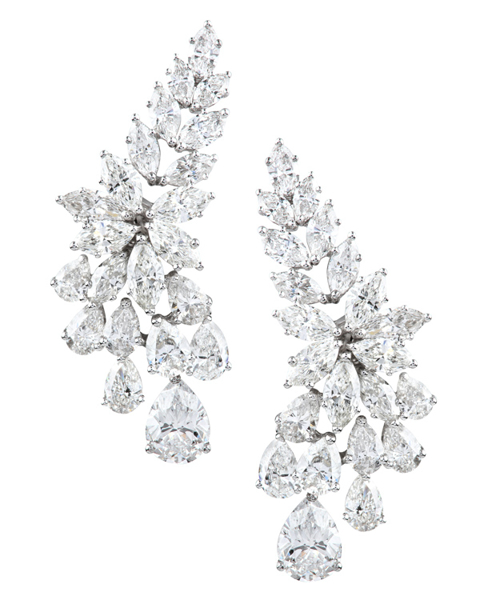 photo of pear & marquise cut diamond earrings