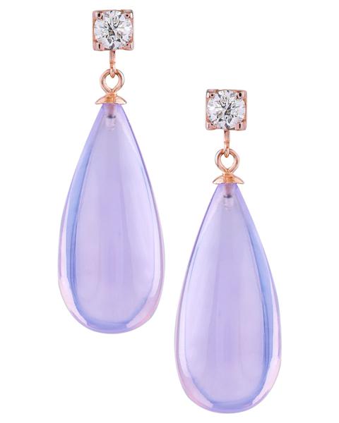 photo of pear cut lavender earrings