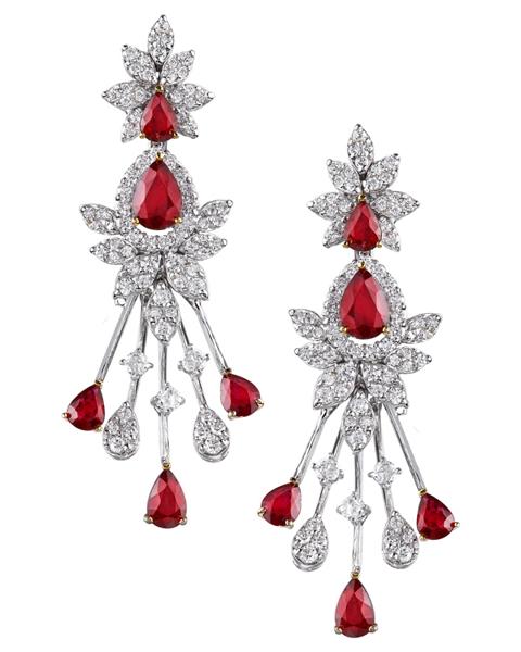 photo of pear cut ruby earrings