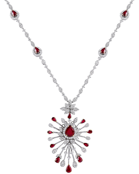 pear cut ruby necklace
