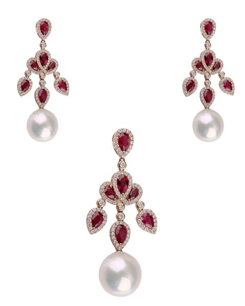 photo of pearl & pear cut ruby half set