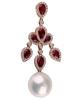 photo of pearl & pear cut ruby pendant of  half set