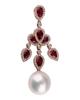 photo of pearl & pear cut ruby earring of  half set