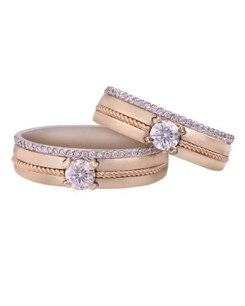 photo of rose gold wedding pair ring