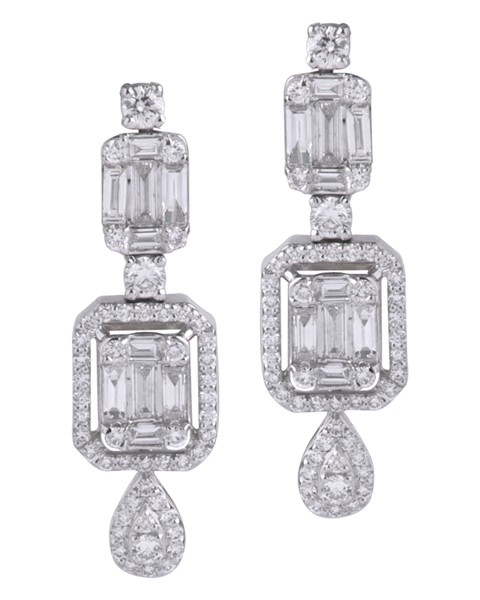 photo of round & baguette cut diamond earrings