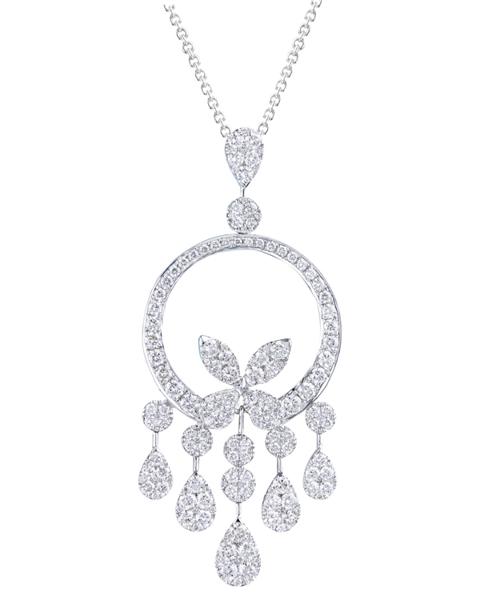 photo of round cut diamond pendant