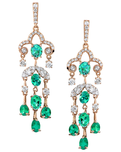 photo of shed Colombian emerald earrings