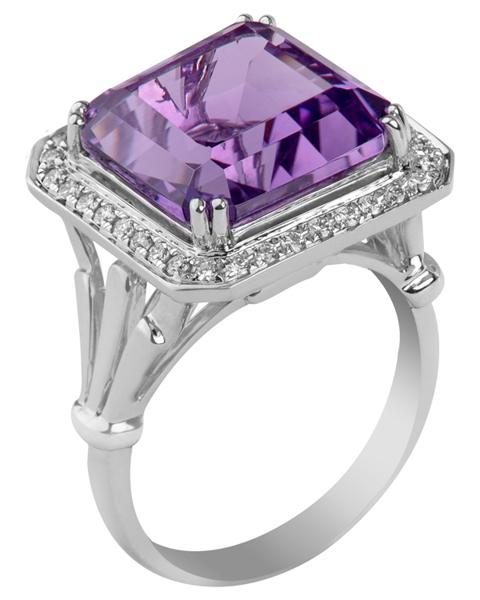 photo of fancy cut amethyst ring