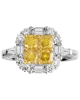 photo of yellow diamond cushion cut ring