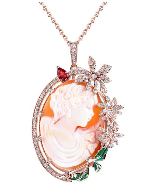 Elizabeth on coral pendant