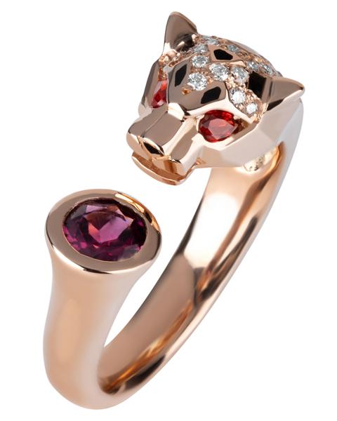 Rhodolite Panther Ring