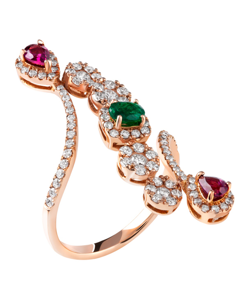 Photo of Rhodolite and Emerald Ring