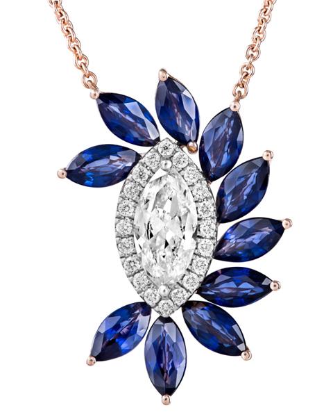 photo of marquise cut sapphire pendant