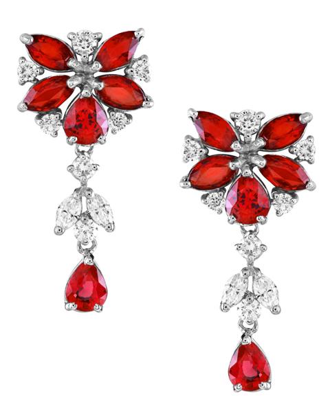 Photo of Ruby Flower Earrings