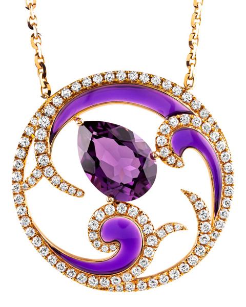 photo of enamel pendant with amethyst