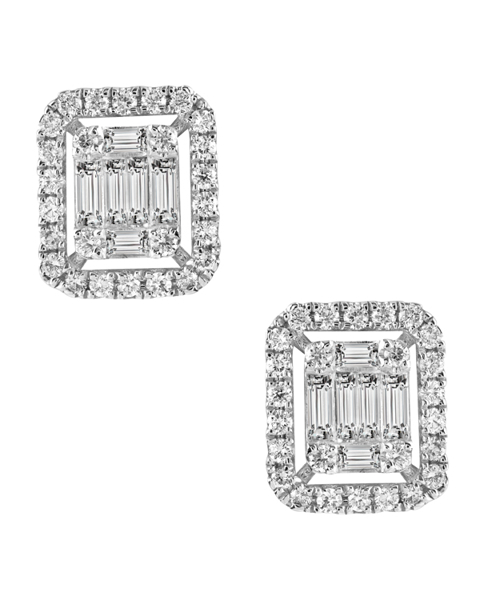 photo of baguette cut diamond earrings white gold