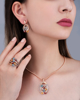 Multi color stone pendant on rose gold