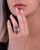 photo of pear and round cut songea ruby ring