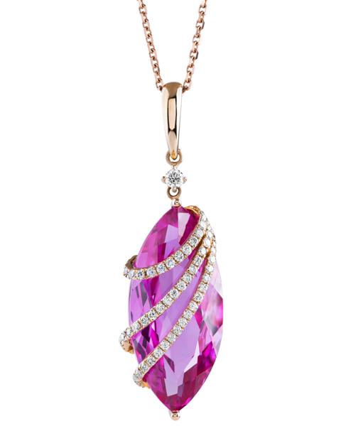 rose gold quartz  and diamond pendant