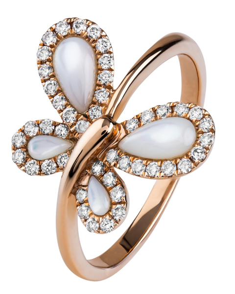 butterfly diamond and shell ring