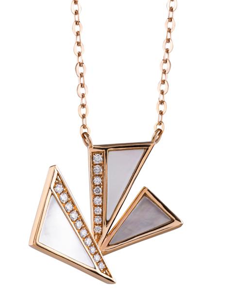 white shell and diamond pendant