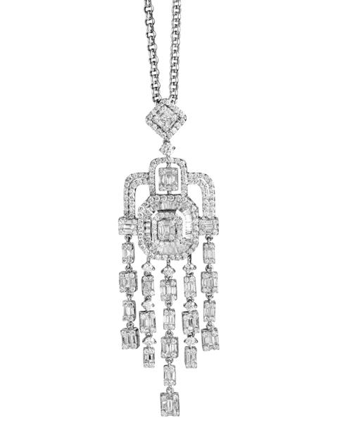 round, baguette, princess cut diamond pendant