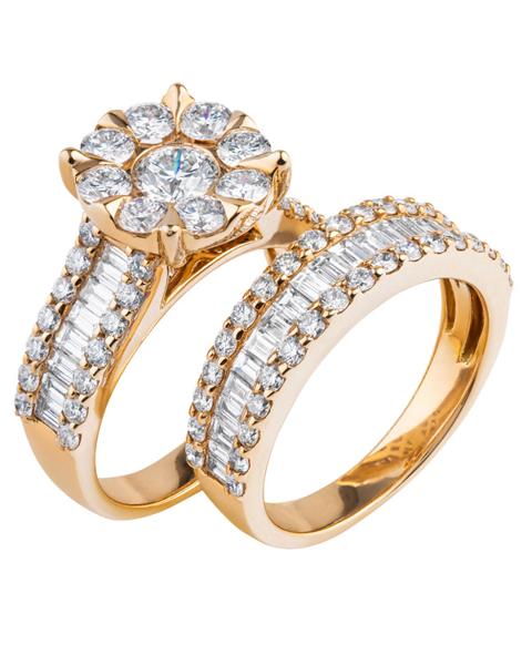 rose gold diamond double ring