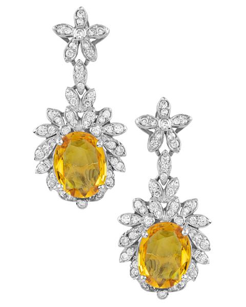 white gold yellow sapphire earrings