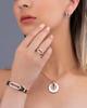 rose gold white stone earrings
