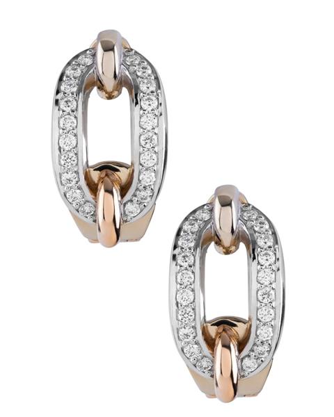 rose gold round cut diamond earrings
