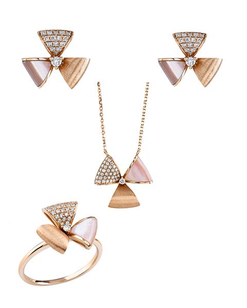 rose gold pink shell set