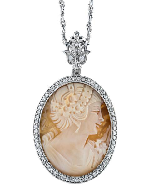 white gold coral pendant