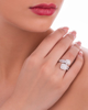 round and baguette cut diamond ring
