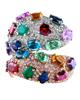 rose gold multi colour stone ring