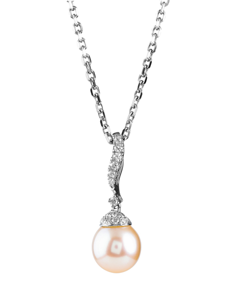 white gold pink pearl pendant