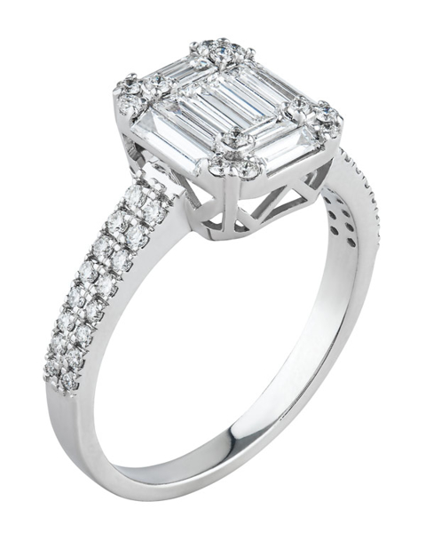white gold round and baguette cut diamond ring